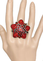 Red Rhinestones Bold Star Statement Stretchable Adjustable Cocktail Ring, Casual