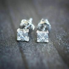 1/2 Ct Princess Cut Aquamarine 14k White Gold Over Solitaire Stud Earrings