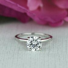 2.00 Ct Round Solitaire Diamond Engagement Ring 14K White Gold Rings Size 7