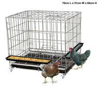 70cm Pet Enclosure Rabbit Hutch Chicken Coop Guinea Pig Ferret Cage Hen Wheels