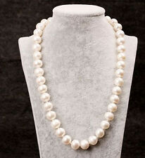 """Genuine AAA ROUND 9-10mm White Pearl Necklace 25"""" Cultured Freshwater"""