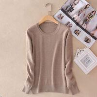 hiver femme laine cachemire pull tricot chaude vêtements en haut couleur unie