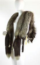Vintage 1930's-1940's Silver Fox White Tail, 2 Pelts Long Stole Wrap