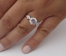 BRIDAL 925 STERLING SILVER LADIES DESIGNER RING W/ 3 CTS DIAMOND/SIZE 5,6,7,8,9