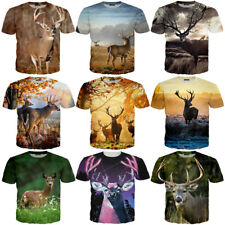 Casual 3D T-Shirt Elk Print Pattern Shirt Short Sleeve Fashion Women Men Top Tee