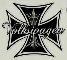 VW IRON CROSS Vinyl Decal Sticker VOLKSWAGEN KOMBI RAT FINK ROCKABILLY BEETLE !!