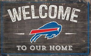 """Buffalo Bills Welcome to our Home Large Wood Sign - 11"""" x 19""""  Wall Decor Gift"""