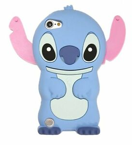 iPod Touch 5th 6th & 7th Gen - Soft Silicone Rubber Skin Case Blue Stitch Bear