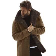 Hombre Invierno Cálido con Peluche Abrigo Solapa Manga Larga Chaqueta