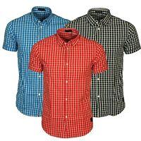 Jack & Jones Mens Short Sleeve Shirt Cotton Check Smart Casual Slim Fit Shirts