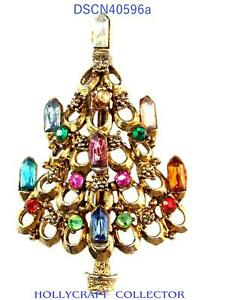 40596a - Vintage Hollycraft 7-Candle Christmas Tree Pin Multi Color Stones