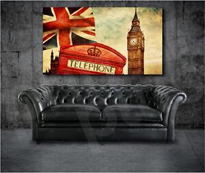 London Red Phone Box British Flag Big Ben Art Canvas Poster Print Wall Decor