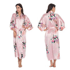 Womens Long Peacock Satin Robe Bride Kimono Bathrobe Night Dress Gown Sleepwear