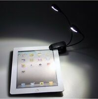 4 LED Dual 2 Arm Clip on Reading Book Music Stand Light Lamp for iPad 2 Kindle 3