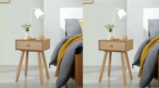 Scandinavian Bedside Table Vintage Retro Cabinet Pair Furniture Set Side Bedroom