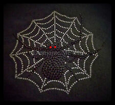 Hotfix Rhinestone Motif HALLOWEEN SPIDER'S WEB Diamante Transfer Iron On