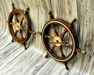 """Set OF 2 Nautical 24"""" Wooden Ship Steering Wheel Pirate Décor Wood Wall Boat"""