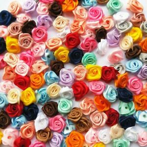 Mix 200P 12mm Small Satin Flower Ribbon Mini Rose Appliques Craft DIY Supplies