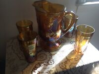 Indiana Carnival Glass Iridescent Gold Pitcher/4 matching glasses Harvest Grape