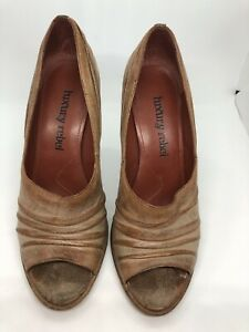 Luxury Rebel Ruched Leather Open Toe Heels Pumps Brown Camel Sz 38.5 / US 8