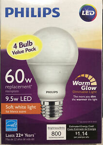 Philips 60W Equivalent Soft White 2700K A19 LED Bulb 4-Pack 9.5 Watts Dimmable