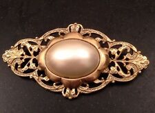 """Art Nouveau Style Gold En Brooch Large Faux Pearl Cabochon 2.75"""" X 1.5"""""""