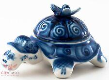 Beautiful Gzhel Porcelain Tortoise w Butterfly trinket Box hand-painted blue