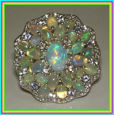 Big! Genuine Ethiopian Welo Opal Cluster Ring Platinum over Sterling Silver sz 8