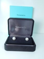 TIFFANY & CO Cultured PEARL AAA 9-9.5mm 18 k WG EARRINGS * GAL Appraisal