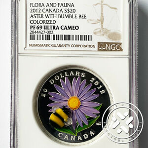2012 Canada NGC PF 69 UC $20 Aster with Glass Bumble Bee 1 oz Silver Coin