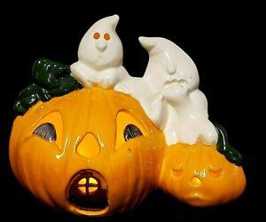 Vintage Ceramic Light Up Pumpkin JACK O' LANTERN & GHOSTS Halloween Decoration