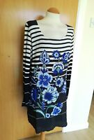 Ladies DESIGUAL Tunic Dress Size 10 Navy White Floral Nautical Day Party