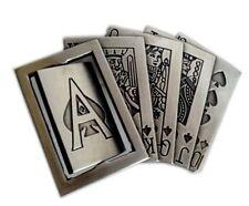 HIP POP BELT BUCKLE VINTAGE SILVER FIVE CARD POKER W/TURNING ACE CASINO GAMBL