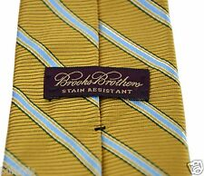 Brooks Brothers Stain Resistant Neck Tie Gold with Light Blue Stripe, 100% Silk