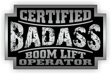 Badass BOOM LIFT OPERATOR Hard Hat Sticker | Decal Label Motorcycle Helmet USA