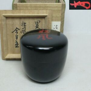 A117: Real Japanese lacquer ware tea container w/great TANTANSAI's appraised box