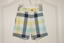 Euc Janie & Jack Seaside Picnic Blue Yellow Plaid Adjustable Waist Shorts 6-12M