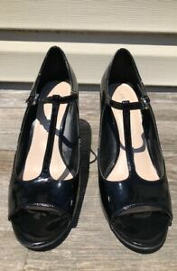 "FRANCO SARTO ""SADIE"" PATENT LEATHER T-STRAP OPEN-TOE BLACK WEDGES SIZE 8.5M"