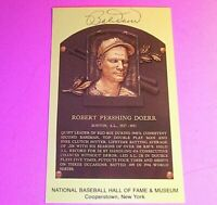 Bobby Doerr Signed HOF Yellow Plaque Postcard Boston Red Sox HOF Autograph