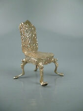 Antique Dutch or German 800 Solid Silver Dollhouse Miniature Chair Sl