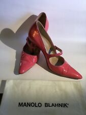 Manolo Blahnik Campari Potent Leather Pointed Toe High Heel Mary Jane Pump Size