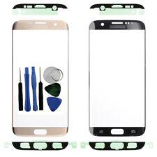 Por Samsung Galaxy S7 Edge G935F Front Outer Vaso Pantalla Oro + Adhesivo Tools