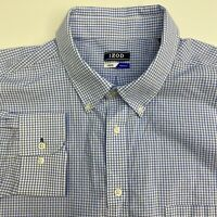 Izod Button Up Shirt Mens 18-18.5 34/35 Blue Check Stretch Long Sleeve Casual