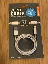 Kikkerland Super Cable Micro USB BNIB 3 Foot