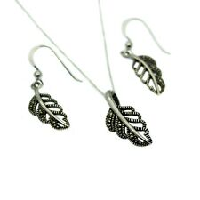 Marcasite Pendant Necklace & Drop Earring Set Sterling Silver Leaf Design