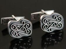 Vtg Art Deco Ornate Swirl Silver Tone & Matte Black Cuff Links Cufflinks