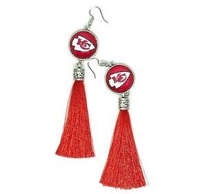 Kansas City Chiefs Football Tassel Fish hook Dangle Earrings FREE SHIPPING