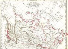 🍁 166 Jahre alte Landkarte KANADA Britisch Nordamerika Alaska Grönland 1853🍁