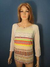 XL tan multi-color retro blouse by SIGNATURE STUDIO