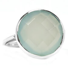 Aqua Chalcedony 925 Sterling Silver Ring Jewelry S.7 ACFR11